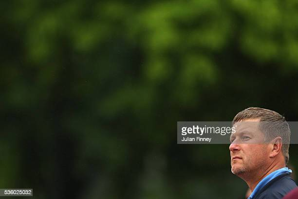 Former tennis player Yevgeny Kafelnikov of Russia watches the action on day ten of the 2016 French Open at Roland Garros on May 31 2016 in Paris...