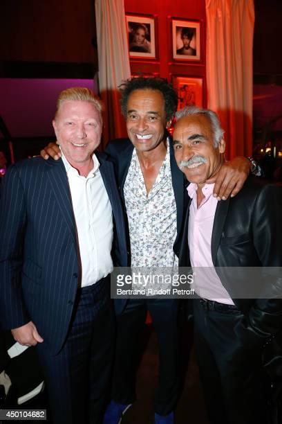 Former tennis players Boris Becker Yannick Noah and Mansour Bahrami attend the Legends of Tennis Dinner Held at Restaurant Fouquet's whyle Roland...