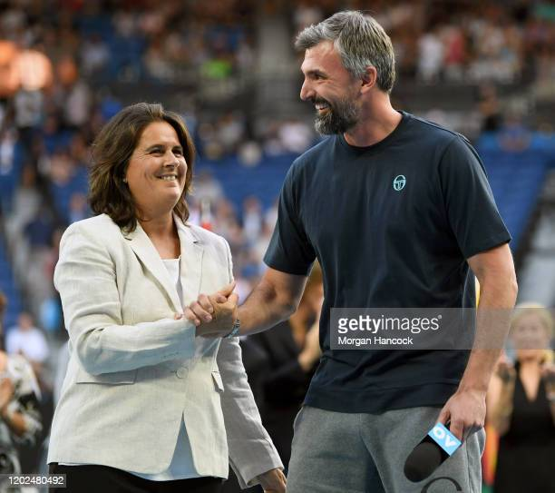Former tennis players Conchita Martinez and Goran Ivanišević congratulate each other on entering the Tennis Hall of Fame during a Tennis Hall of Fame...
