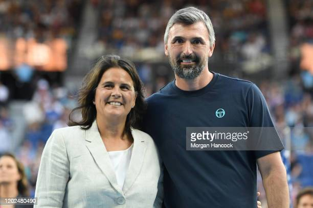 Former tennis players Conchita Martinez and Goran Ivanišević pose following a Tennis Hall of Fame ceremony where they were inducted into the Tennis...