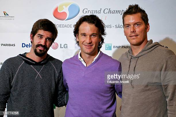 Former tennis players Flavio Saretta Carlos Moya and Thomas Enqvist during a press conference to present the Grand Champions tournament which will be...