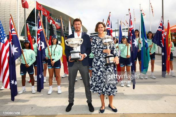 Former tennis players Marat Safin and Lindsay Davenport pose with the Norman Brookes Challenge Cup and the Daphne Akhurst Memorial Cup at the...