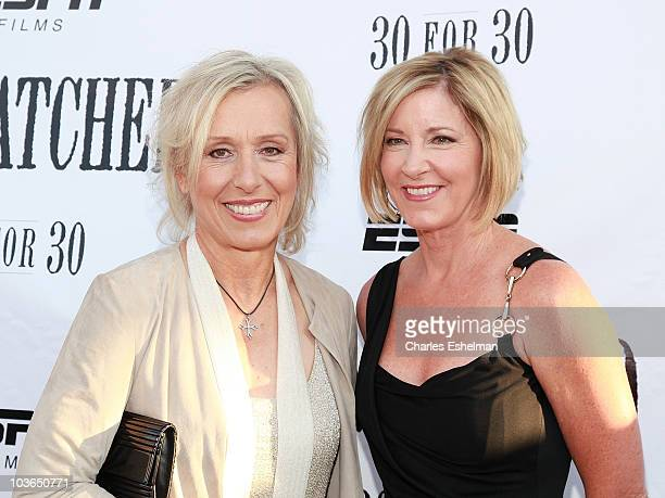 """Former tennis players Martina Navratilova and Chris Evert attend the premiere of """"Unmatched"""" at Tribeca Cinemas on August 26, 2010 in New York City."""