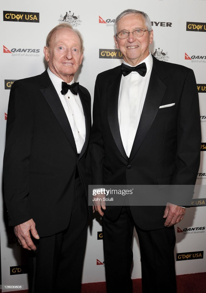 Former tennis players Rod Laver (L) and Roy Emmerson attend 'G'Day USA 2011' Black Tie Gala at Hollywood Palladium on January 22, 2011 in Hollywood, California.