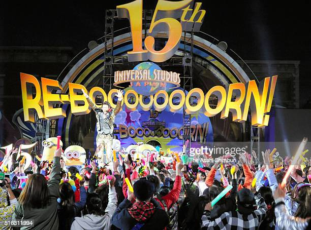 Former tennis players Shuzo Matsuoka and characters celebrate the eve of the 15th anniversary at the Universal Studios Japan on March 17 2016 in...