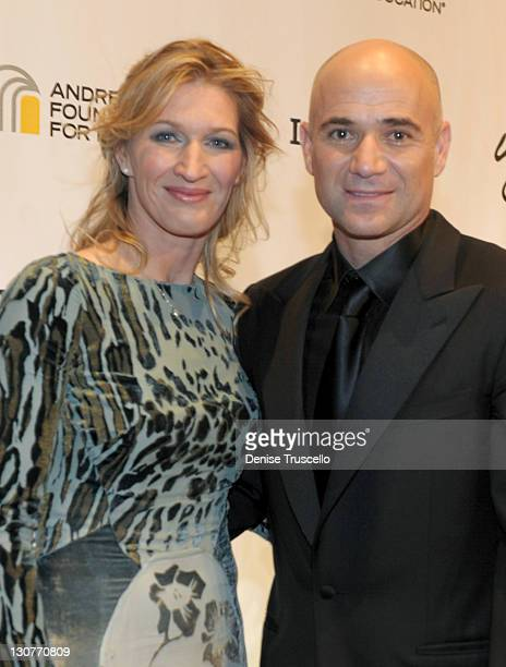 Former tennis players Steffi Graf and Andre Agassi arrive at the Andre Agassi Foundation for Education's 16th Grand Slam for Children benefit concert...