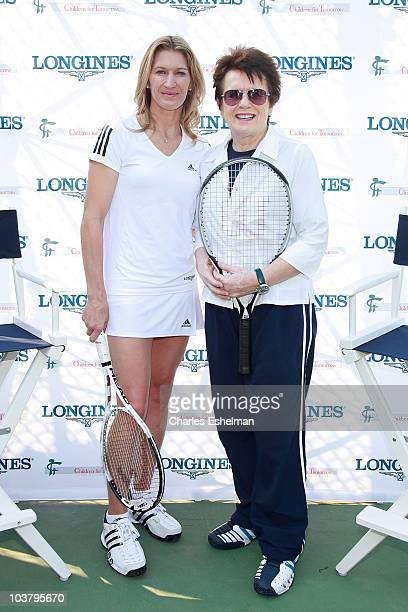 Former tennis players Steffi Graf and Billie Jean King attend the Center Court for Kids Tennis Clinic at Central Park Tennis Center on September 2...