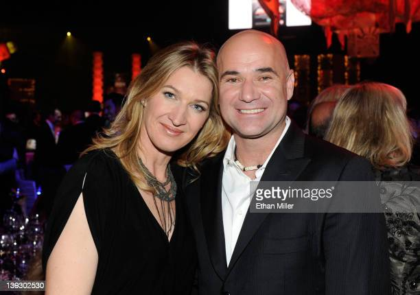 Former tennis players Steffi Graff and Andre Agassi attend the Keep Memory Alive foundation's Power of Love Gala celebrating Muhammad Ali's 70th...