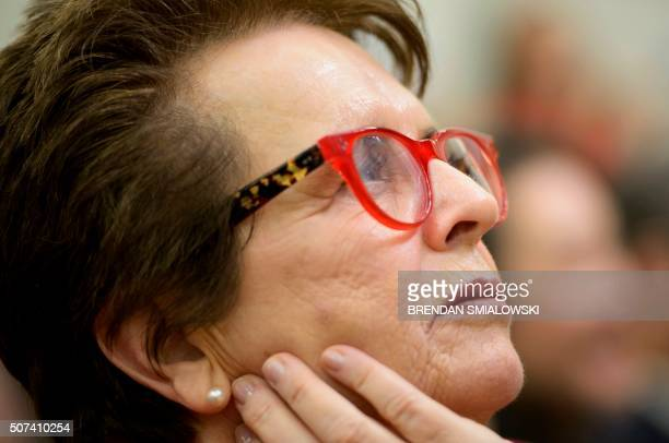 Former tennis pro Billie Jean King listens as US President Barack Obama speaks about equal pay during an event to mark the 7th Anniversary of the...