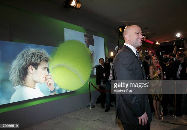 Former tennis star Andre Agassi arrives with his wife Stefanie Graf at the German Media Awards 2007 ceremony at the Kongresshaus on February 24 2008...