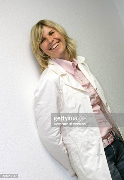 Former Tennis star Anke Huber of Germany poses during a press conference after the showmatch between Martina Hingis and Gabriela Sabatini on June 5...
