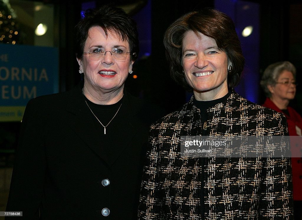 Former tennis star Billie Jean King (L) and former astronaut Sally Ride arrive at the induction ceremony for the California Hall of Fame December 6, 2006 in Sacramento, California. The Hall of Fame, which was conceived by California first lady Maria Shriver, is inducting King, Ride, Alice Walker, Ronald Reagan, Cesar Chavez, Walt Disney, Amelia Earhart, Clint Eastwood, Frank Gehry, David D. Ho, John Muir and the Hearst and Packard families.