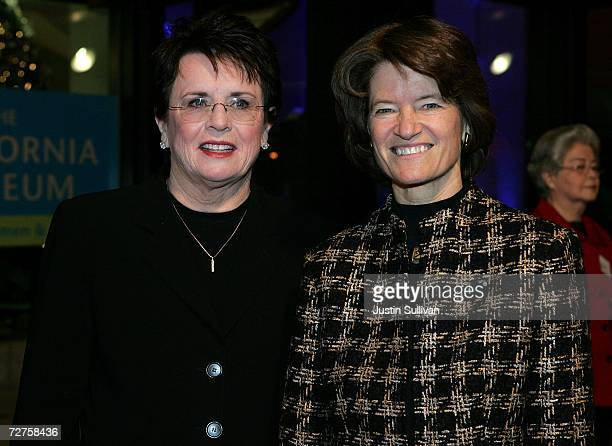 Former tennis star Billie Jean King and former astronaut Sally Ride arrive at the induction ceremony for the California Hall of Fame December 6 2006...