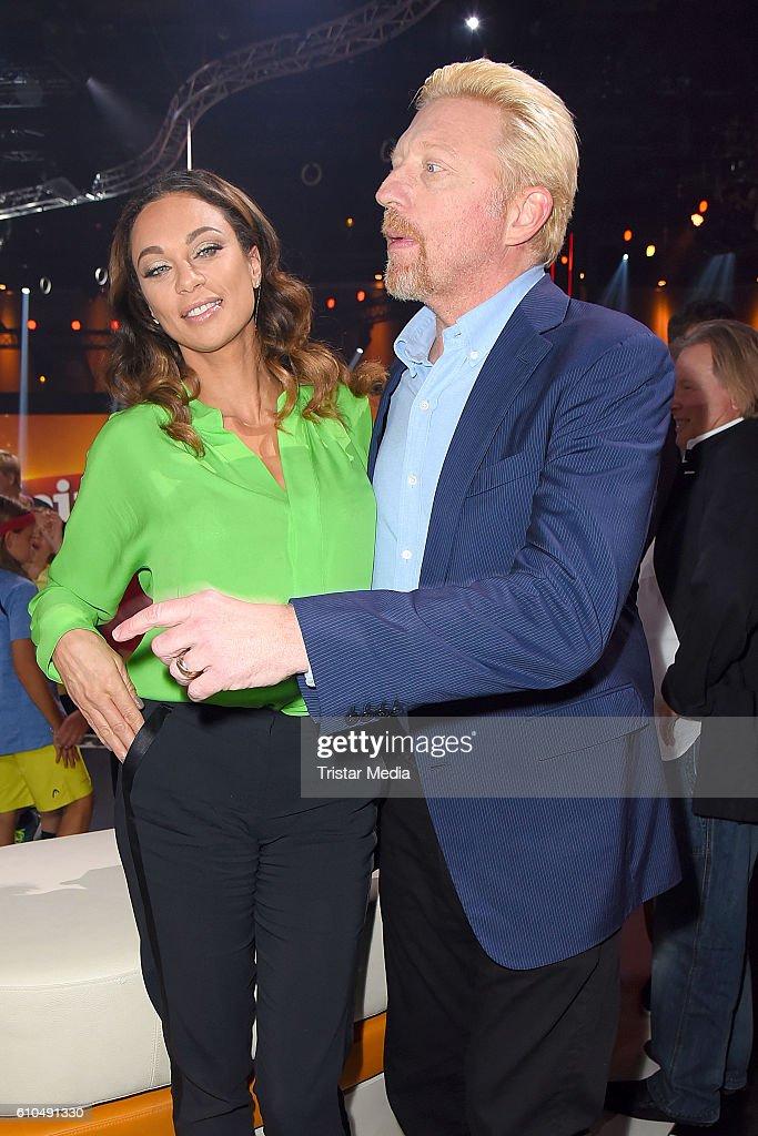 Former Tennis star Boris Becker and his wife Lilly Becker at the tv show 'Klein gegen Gross - Das unglaubliche Duell' on September 25, 2016 in Berlin, Germany.