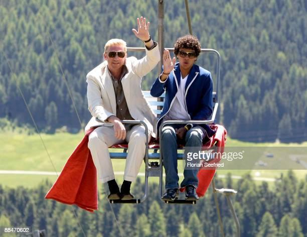 Former tennis star Boris Becker and son Noah Becker arrive on a ski lift to the wedding brunch reception on June 13 2009 in St Moritz Switzerland...