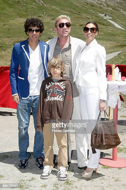 Former tennis star Boris Becker his wife Sharlely and his sons Noah and Elias pose for a picture after taking a skilift to their wedding brunch...