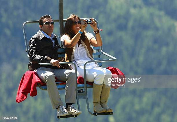 Former tennis star CarlUwe 'Charly' Steeb and his wife Kim Steeb ride a ski lift to the wedding brunch reception of former tennis star Boris Becker...
