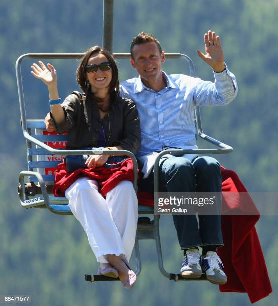 Former tennis star Patrick Kuehnen and his wife Katharina ride a ski lift to the wedding brunch reception of former tennis star Boris Becker and his...