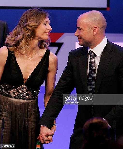 Former tennis stars Stefanie Graf and her husband Andre Agassi attend the German Media Awards 2007 ceremony at the Kongresshaus on February 24 2008...