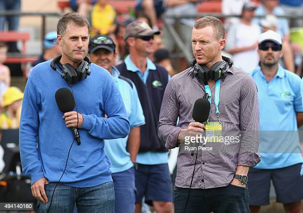 Former Test players Simon Katich and Chris Rogers commentate on radio during the Matador BBQs One Day Cup final match between New South Wales and...