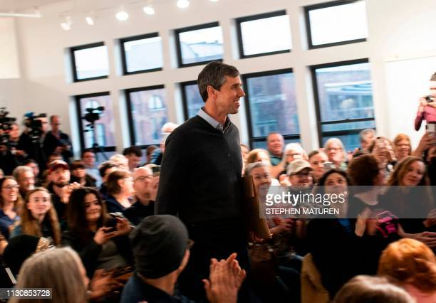 Former Texas Congressman and Democratic party presidential candidate Beto O'Rourke arrives for a podcast taping at Raygun in Cedar Rapids Iowa on...