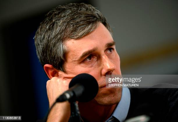 Former Texas Congressman and Democratic party presidential candidate Beto O'Rourke speaks during a podcast taping at Raygun in Cedar Rapids Iowa on...