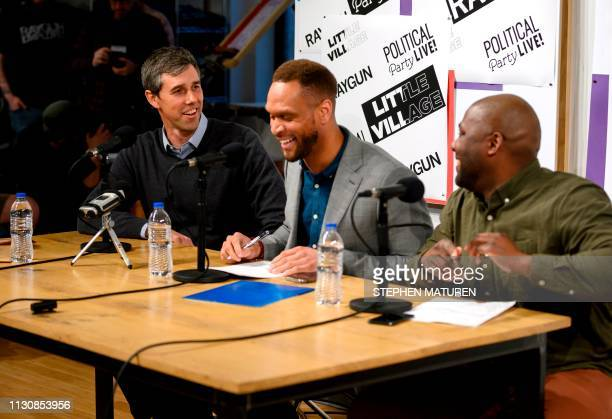 Former Texas Congressman and Democratic party presidential candidate Beto O'Rourke and hosts Stacey Walker and Simeon Talley record an episode of The...