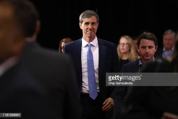 Former Texas congressman Beto O'Rourke enters the Spin Room after the Democratic Presidential Debate at Otterbein University on October 15, 2019 in...