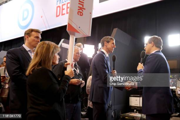 Former Texas congressman Beto O'Rourke greets Chris Hayes of MSNBC in the Spin Room after the Democratic Presidential Debate at Otterbein University...