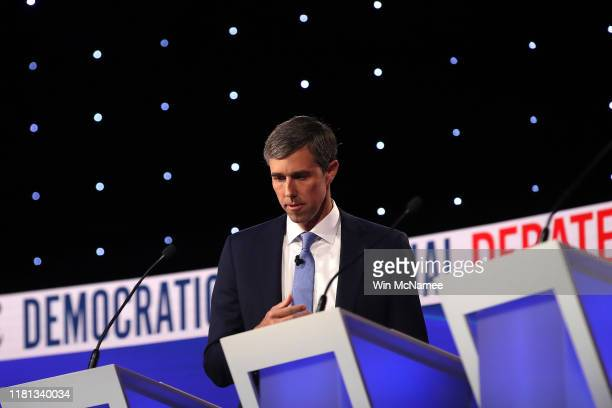Former Texas congressman Beto O'Rourke looks down during a break at the Democratic Presidential Debate at Otterbein University on October 15, 2019 in...