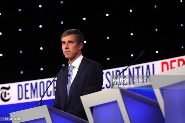 Former Texas congressman Beto O'Rourke looks on during a break at the Democratic Presidential Debate at Otterbein University on October 15, 2019 in...
