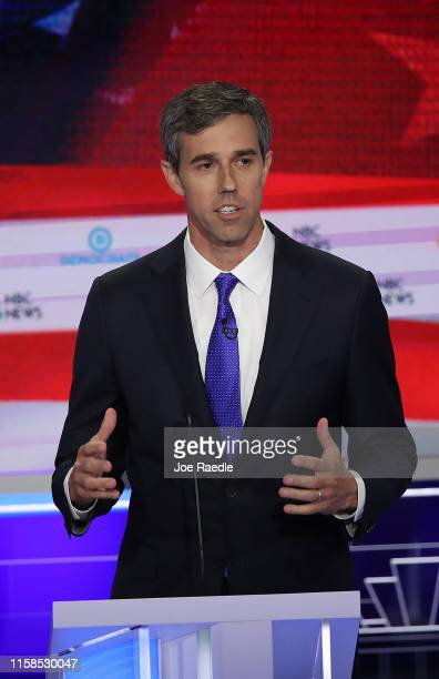Former Texas congressman Beto O'Rourke speaks during the first night of the Democratic presidential debate on June 26 2019 in Miami Florida A field...