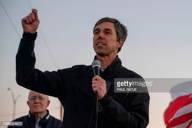 Former Texas Congressman Beto O'Rourke speaks to a crowd of marchers during the antiTrump March for Truth in El Paso Texas on February 11 2019 The...