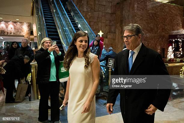 Former Texas Governor Rick Perry arrives at Trump Tower December 12 2016 in New York City Presidentelect Donald Trump and his transition team are in...