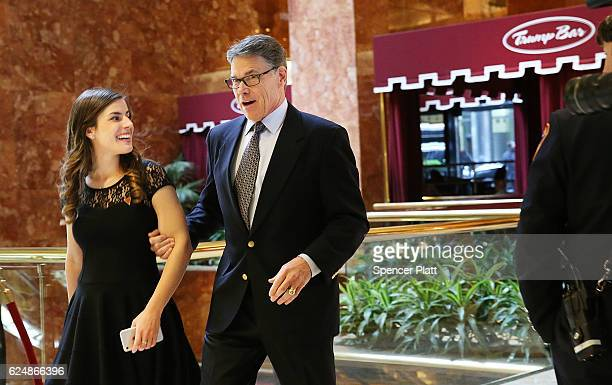 Former Texas Governor Rick Perry arrives at Trump Tower on November 21 2016 in New York City Presidentelect Donald Trump and his transition team are...