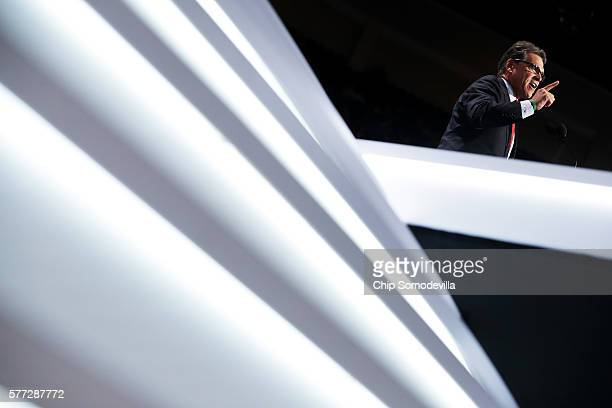 Former Texas Governor Rick Perry delivers a speech on the first day of the Republican National Convention on July 18, 2016 at the Quicken Loans Arena...