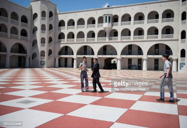 Former Texas Governor Rick Perry walks around the campus following a speech at the Citadel in Charleston South Carolina on Monday April 6 2015