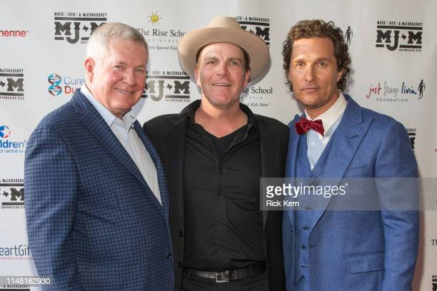 Former Texas Longhorns football coach Mack Brown Jack Ingram and Matthew McConaughey arrive at the Mack Jack McConaughey charity gala at ACL Live on...