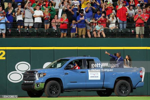 Former Texas Rangers third baseman Adrian Beltre waves to fans after being inducted into the Texas Rangers Hall of Fame at Globe Life Field on August...