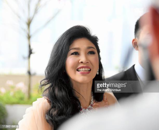 Former Thai Prime Minister Yingluck Shinawatra attends the wedding of her niece Paetongtarn Shinawatra on March 22 2019 in Hong Kong