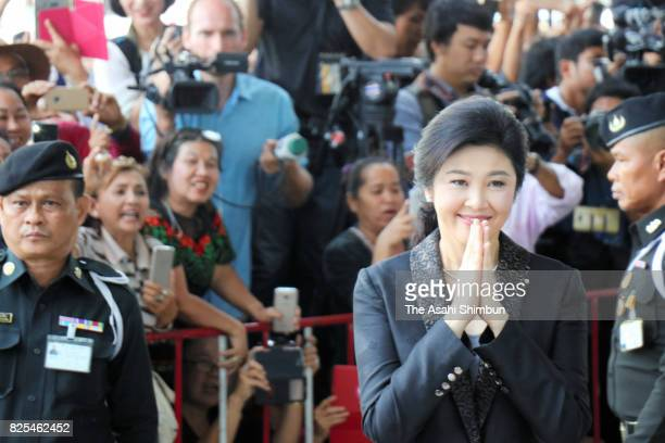 Former Thai prime minister Yingluck Shinawatra is seen after the court hearing at the Supreme Court on August 1 2017 in Bangkok Thailand