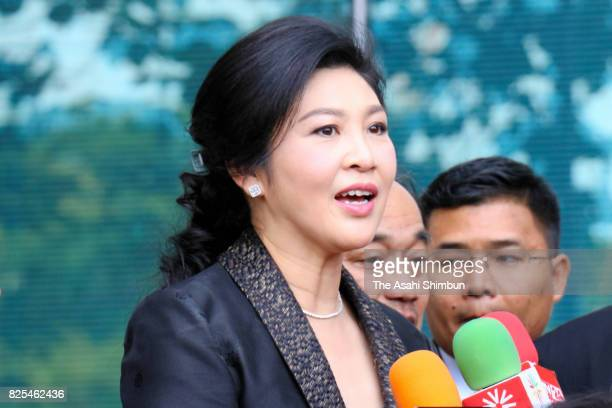 Former Thai prime minister Yingluck Shinawatra speaks on arrival at the Supreme Court on August 1 2017 in Bangkok Thailand