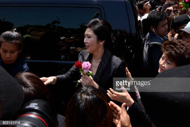 Former Thailand's Prime Minister Yingluck Shinawatra arrives at the Supreme Court in Bangkok Thailand Bangkok Thailand on August 1 2017