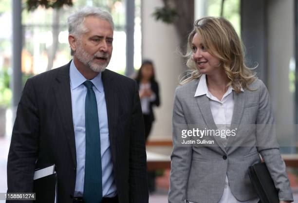 Former Theranos founder and CEO Elizabeth Holmes arrives at the Robert F. Peckham U.S. Federal Court with her attorney on June 28, 2019 in San Jose,...