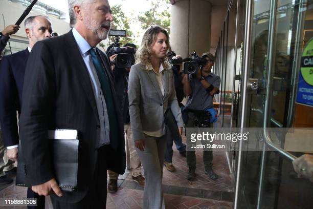 Former Theranos founder and CEO Elizabeth Holmes arrives at the Robert F Peckham US Federal Court on June 28 2019 in San Jose California Former...