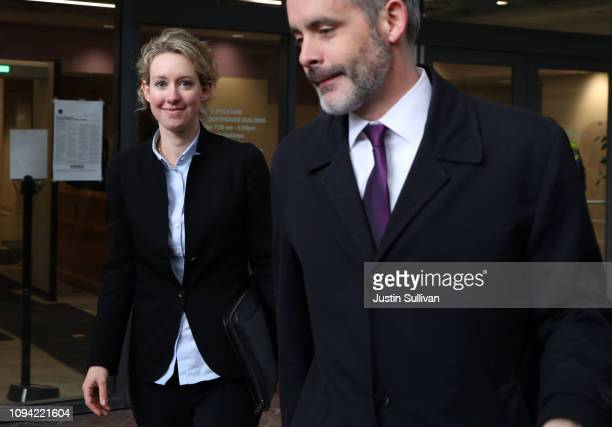 Former Theranos founder and CEO Elizabeth Holmes leaves the Robert F Peckham US Federal Court on January 14 2019 in San Jose California Former...