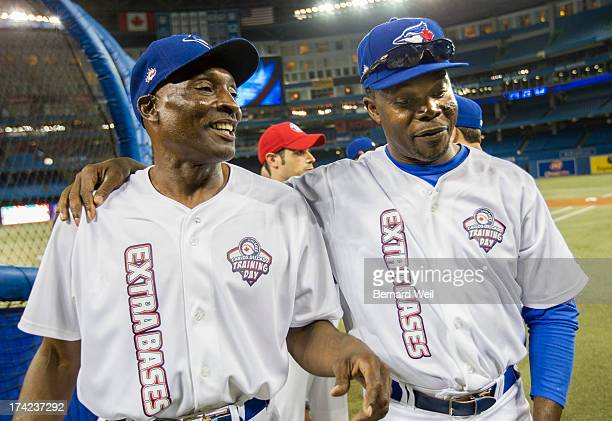 TORONTO ON JULY 22 Former Toronto Blue Jay legends Lloyd Moseby and Tony Fernandez chat during the Carlos Delgado/Extra Bases Training Day which took...