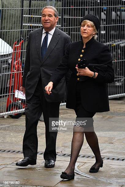 Former Tory Minister Leon Brittan arrives for the funeral of Baroness Margaret Thatcher on April 17 2013 in London England Dignitaries from around...