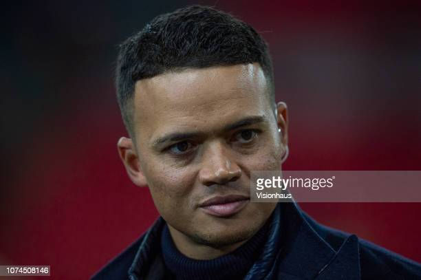 Former Tottenham Hotspur midfielder Jermaine Jenas working for BT Sport television media before the Group B match of the UEFA Champions League...
