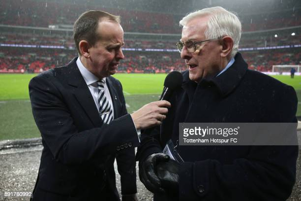 Former Tottenham Hotspur player Alan Mullery is interivewed at half time during the Premier League match between Tottenham Hotspur and Brighton and...